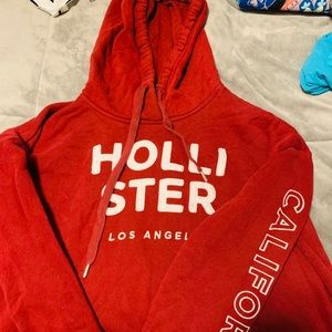 Hollister red hoodie Large